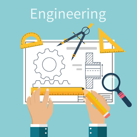 Illustration pour Engineer working on blueprint. Engineering drawing, technical scheme. Sketching gear, project. Engineer Designer in project. Drawings for production, engineering, manufacturing processes. Vector, flat - image libre de droit