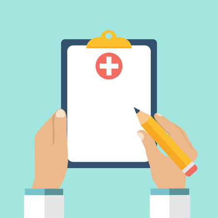 Illustration pour Clipboard in his hand doctor. Doctor takes notes in a Clipboard. Clipboard, hand, pen. Medical report, medical background. Vector, flat design. Patient care. Blank clipboard, template. - image libre de droit