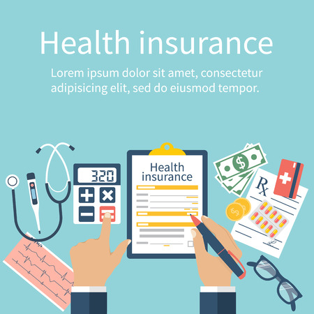 Photo pour Man at the table fills in the form of health insurance. Healthcare concept. Vector illustration flat design style. Life planning. Claim form. Medical equipment, money, prescription medications. - image libre de droit