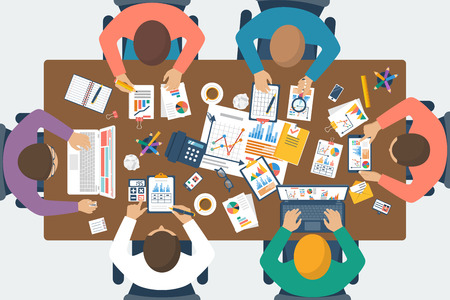 Illustrazione per Project management concept. Business team work on projects. Brainstorming. Business meeting, planning strategy, analysis, marketing research, financial management. Flat design, vector. - Immagini Royalty Free