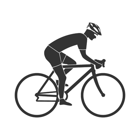 Illustrazione per Cyclist silhouette icon, man on racing bike. Isolated icon sports bike races. Vector illustration. Speed racing bike. - Immagini Royalty Free