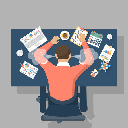 Illustrazione per Man at desk, overwhelmed hard work. Stress at work. Fatigue at work. Vector illustration flat design. - Immagini Royalty Free