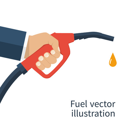 Illustration pour Fuel pump in hand man. Petrol station. Holding fuel nozzle. Gasoline pump with drop.  illustration flat design style. Icon isolation on a white background. - image libre de droit