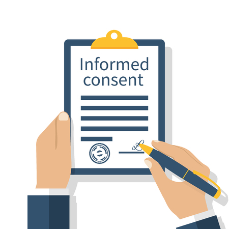 Photo pour Man signs a form of information consent. Businessman signs document. Clipboard in hand. Vector illustration of a flat design. Medical agreement. - image libre de droit