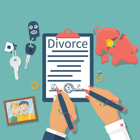 Photo pour Divorce concept. Meeting husband and wife to sign agreement divorce papers. Property division: money, car, house. Vector illustration flat design. Form signed, stamp. Broken picture. End of marriage. - image libre de droit
