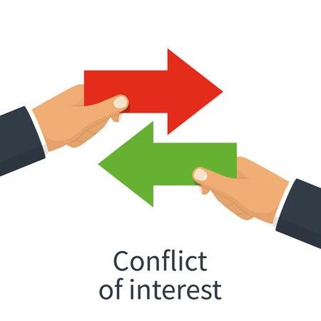 Ilustración de Conflict of interest vector illustration on white background. - Imagen libre de derechos