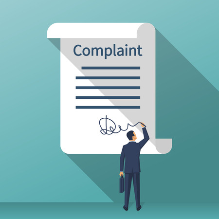 Illustrazione per Complaint concept. Man wrote a complaint. Vector illustration flat design. Measures to solve problems. Claim petition. Sign the document on the application. - Immagini Royalty Free