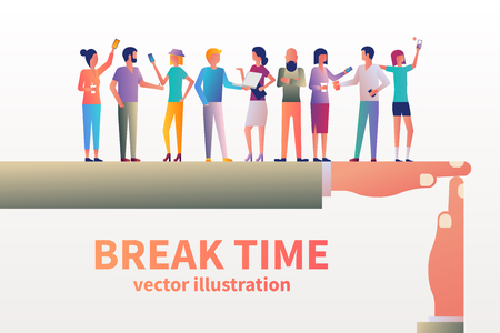 Ilustración de Break time concept. Gesture as a symbol of a break in work. Vector illustration flat design style. Group of people communicate and drink coffee. Lunchtime in office. Modern young people. - Imagen libre de derechos