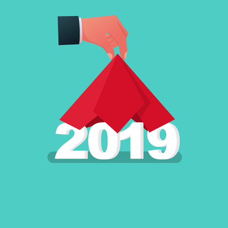 Illustration pour 2019 Happy New year. Man hand take off cloth with 2019. Covered red silk. Vector flat design. Isolated on white background. Merry Christmas. - image libre de droit