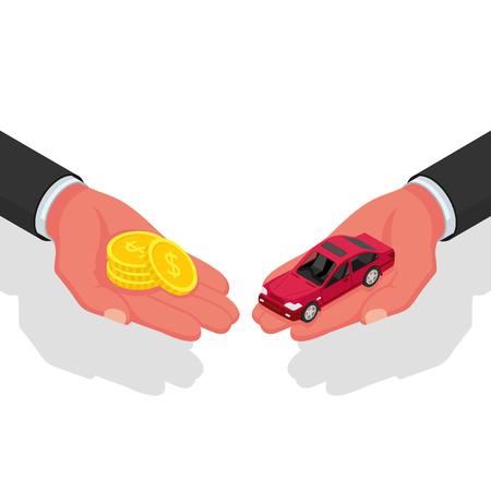 Illustration pour Buying or renting a car - image libre de droit