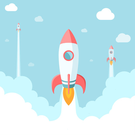 Ilustración de Startup illustration. Rockets in the clouds. Modern flat style. - Imagen libre de derechos