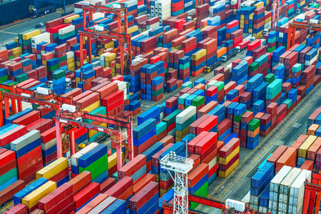 Photo for industrial port with containers - Royalty Free Image