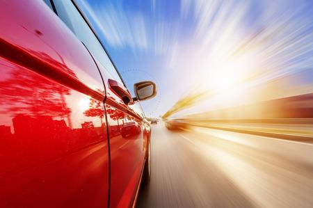 Foto de car on the road with motion blur background - Imagen libre de derechos