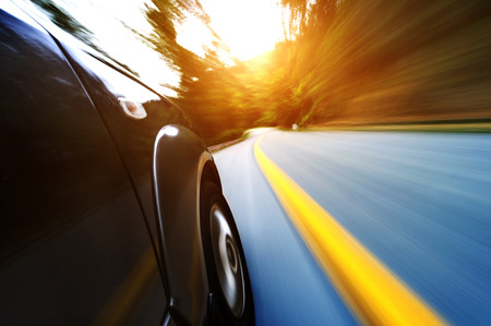 Foto de car on the road with motion blur background. - Imagen libre de derechos
