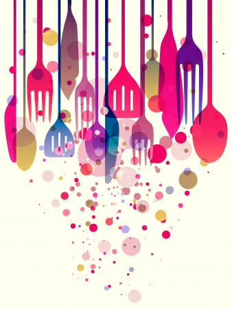 Beautiful illustration with multi-colored utensils for all kind of food related designs