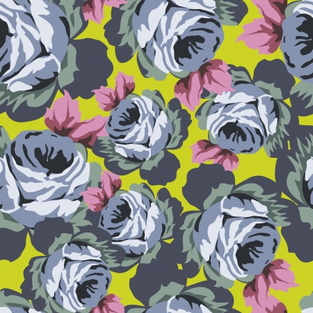 Seamless vector pattern with beautiful vintage roses on magenta background mural