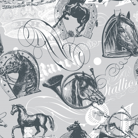 seamless pattern design with old etching horses and calligraphic ornaments mural