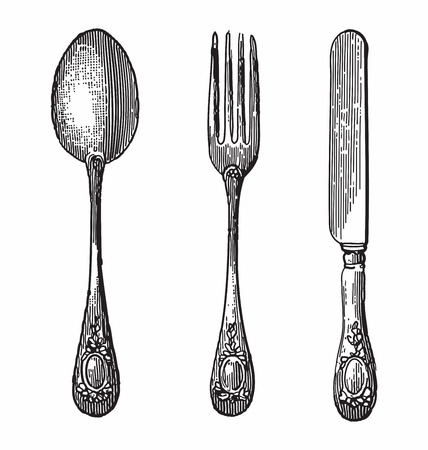 Illustration pour Antique style engraving of cutlery, spoon, knife and fork - image libre de droit
