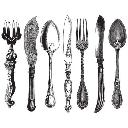 Ancient style engraving of a set of vintage cutlery, forks, knives and spoons