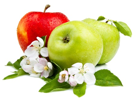 Photo for Two Green Apple and Red Apples with flowers, Leaf and water droplets on a white background - Royalty Free Image