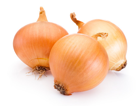Photo pour Three onion bulbs isolated on white background - image libre de droit