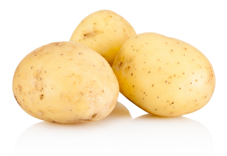 Photo pour Three new potato isolated on white background - image libre de droit