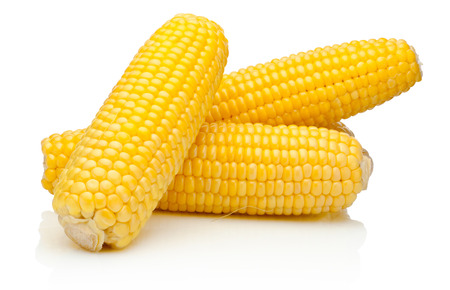 Foto de Corn on the cob kernels peeled isolated on a white background - Imagen libre de derechos