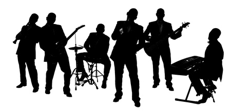 Photo for silhouette Band playing isolated on white  - Royalty Free Image
