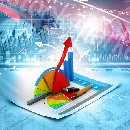 Foto de Business graph and chart - Imagen libre de derechos