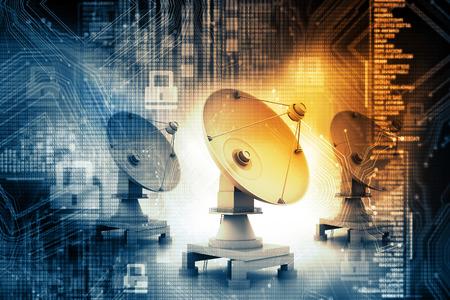 Foto de Digital illustration of Satellite dish transmission - Imagen libre de derechos