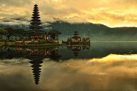 Photo for Bali Pura Ulun Danu Bratan Water Temple at sunrise  - Royalty Free Image