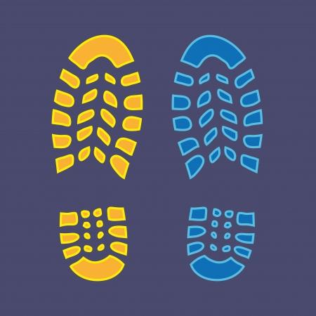 Ilustración de Shoe yellow and bloe footprint - illustration - Imagen libre de derechos