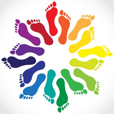 Ilustración de Footprints in a circle, illustration - Imagen libre de derechos