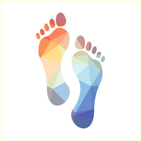 Ilustración de Multicolored polygonal footprints, illustration - Imagen libre de derechos