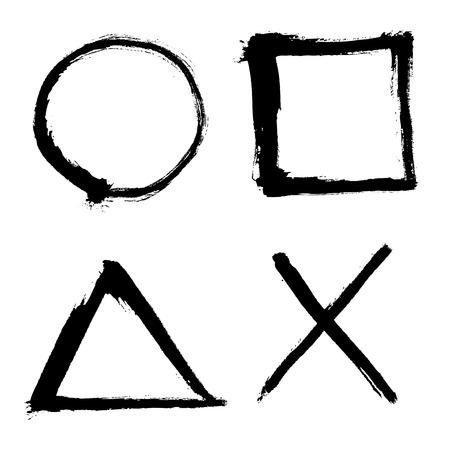 Illustration pour outlined square, circle, triangle elements - image libre de droit