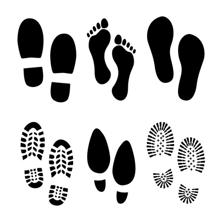 Ilustración de Set of footprints and shoes - Imagen libre de derechos