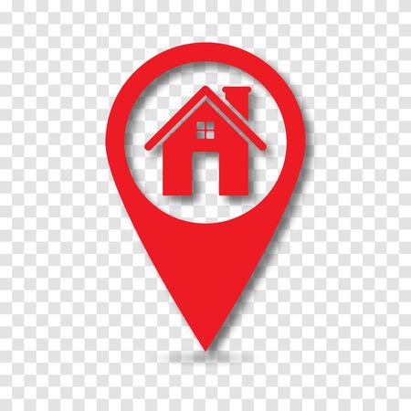 Illustration pour Map pointer with home icon, vector - image libre de droit