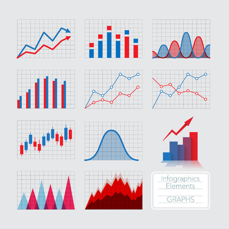 Illustration pour Set of charts, infographics elements. - image libre de droit