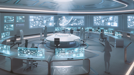 Photo pour 3D rendered modern, futuristic command center interior with people silhouettes - image libre de droit
