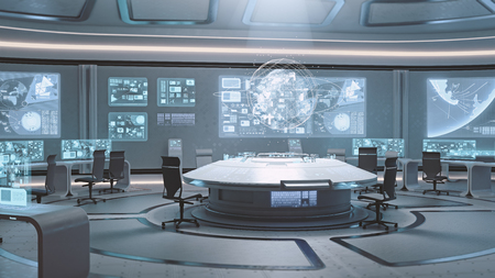 Photo pour 3D rendered empty, modern, futuristic interior command center - image libre de droit