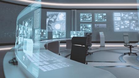 Foto de 3D rendered empty, modern, futuristic interior command center - Imagen libre de derechos