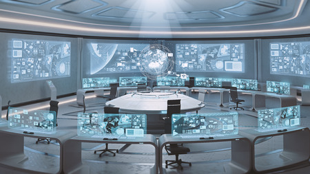 Photo for 3D rendered empty, modern, futuristic interior command center - Royalty Free Image
