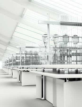 Foto de Clean modern white laboratory 3d render - Imagen libre de derechos
