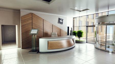 Photo pour Lobby entrance with reception desk in a business center building - image libre de droit