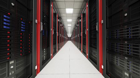 Foto de Inside the long tunnel server room - Imagen libre de derechos