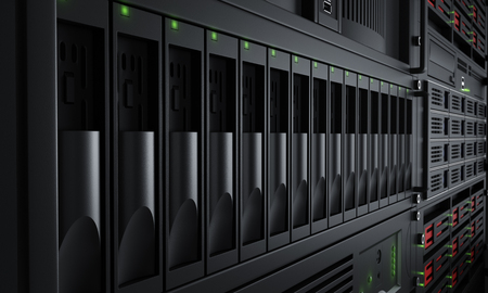 Foto de Close up of turned on server racks - Imagen libre de derechos