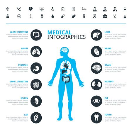Ilustración de Medical human organs and medical icon set with human body in blue - Imagen libre de derechos