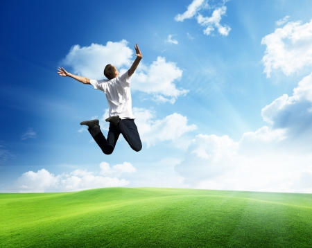 Photo for jumping happy young man - Royalty Free Image