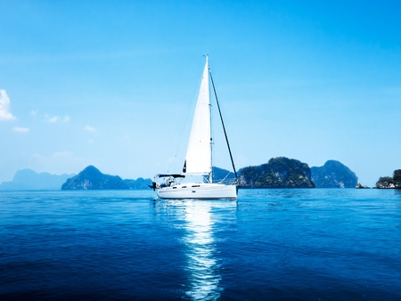 Photo for yacht and blue water ocean - Royalty Free Image