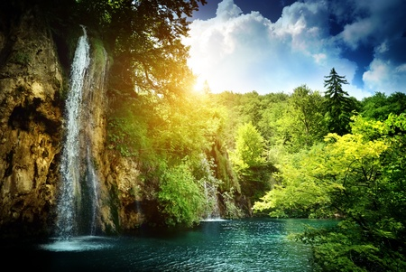 Photo for waterfall in deep forest - Royalty Free Image